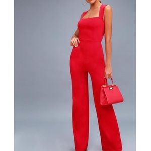 Lulus Enticing Endeavors jumpsuit in Red